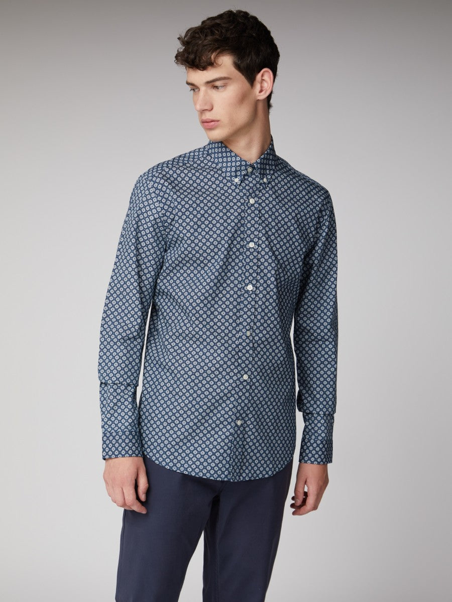 Mens LS Retro Geo Shirt | Shop Ben Sherman at Wallace and Gibbs NZ