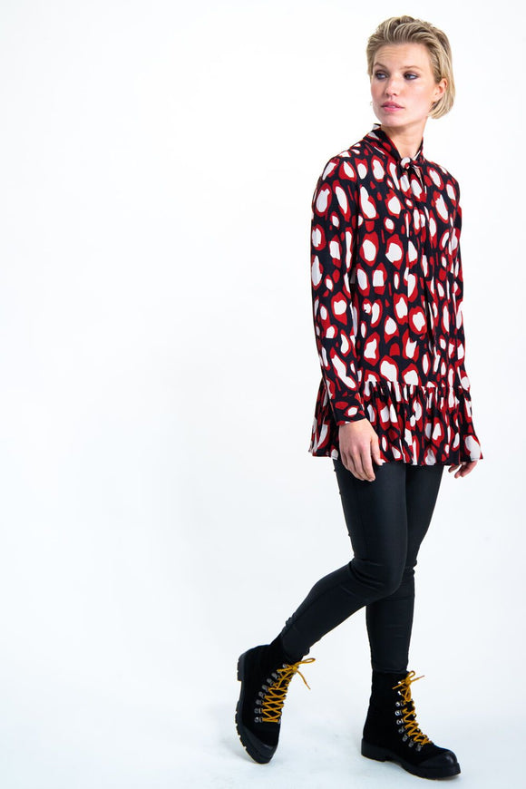 Womens Garcia Blouse Red/Black | Shop Garcia at Wallace and Gibbs