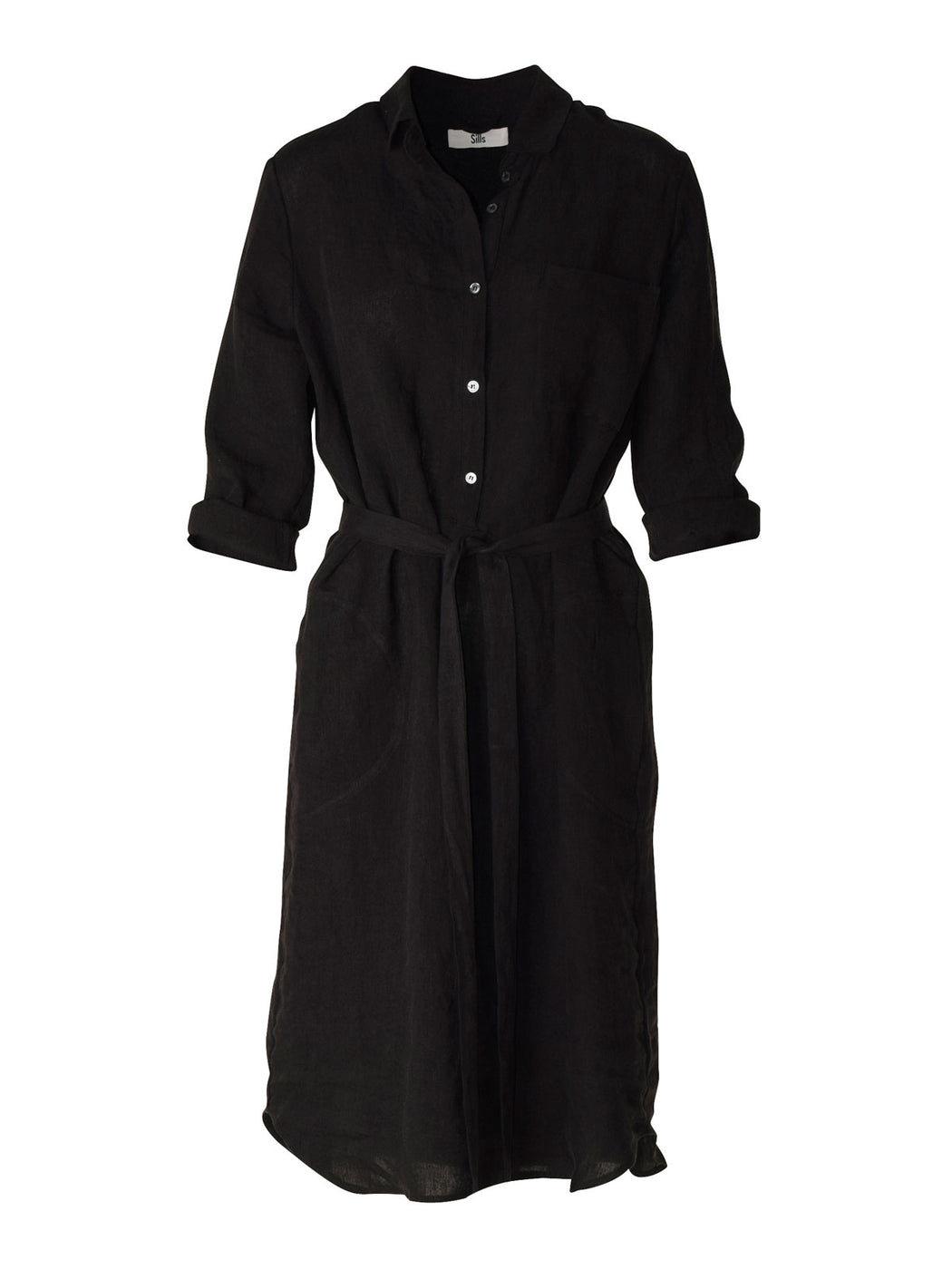 Anais Shirt Dress - Black | Shop Sills in NZ at Wallace & Gibbs NZ