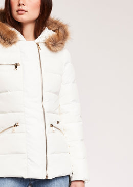 Womens Hooded Puffer Jacket White | Shop at Wallace and Gibbs NZ