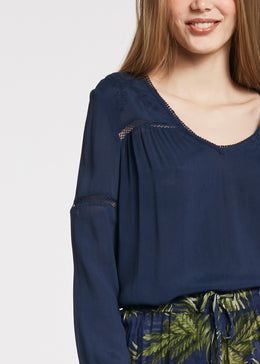 Womens Blouse w Embroidery - Navy | Shop at Wallace and Gibbs NZ