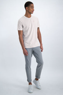 Mens S/S T Shirt - Pink Stripe | Shop Garcia at Wallace and Gibbs