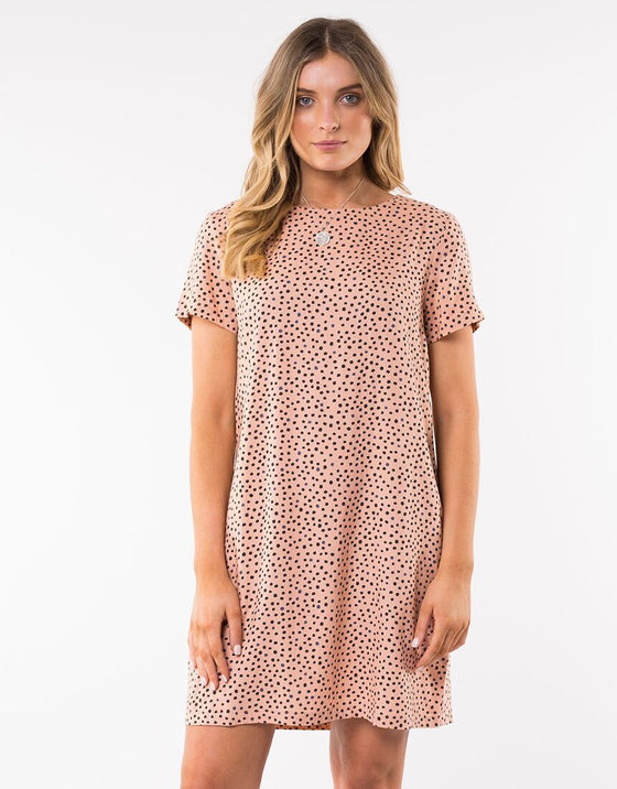 Painted Dot Shift Dress - Tan