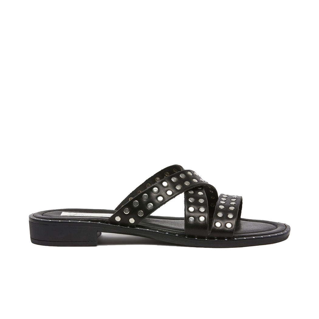 Sophea Slide Black Calf/Silver | Kathryn Wilson | Wallace and Gibbs NZ