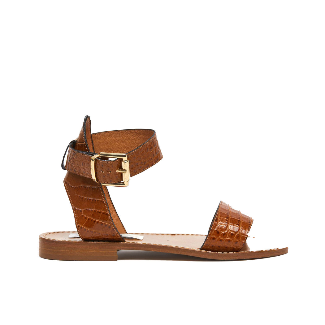 Sonja Sandal - Tan Croc | Kathryn Wilson | Wallace and Gibbs NZ