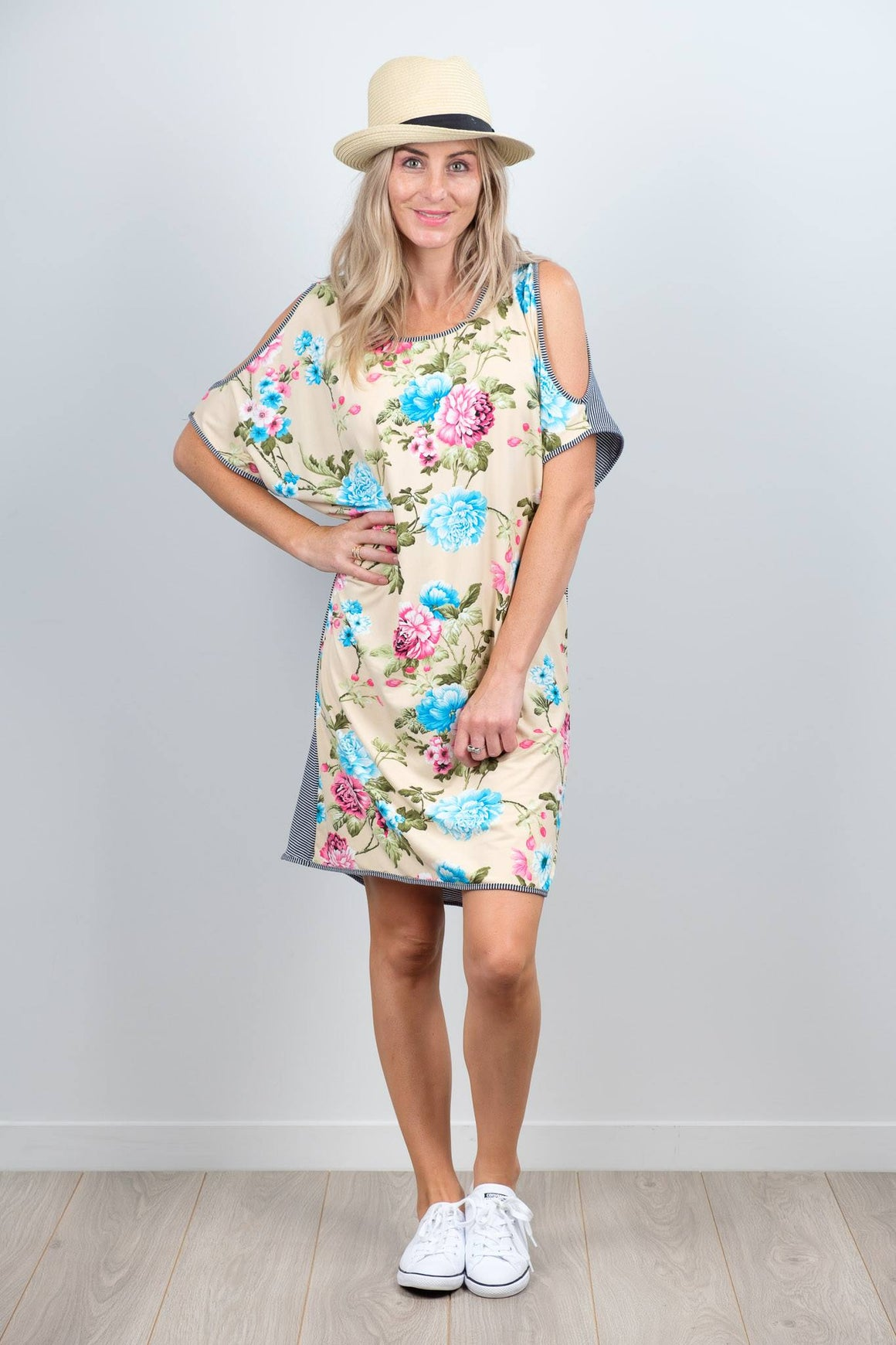 White Chalk Sofia Dress Nude Floral Front at Wallace & Gibbs