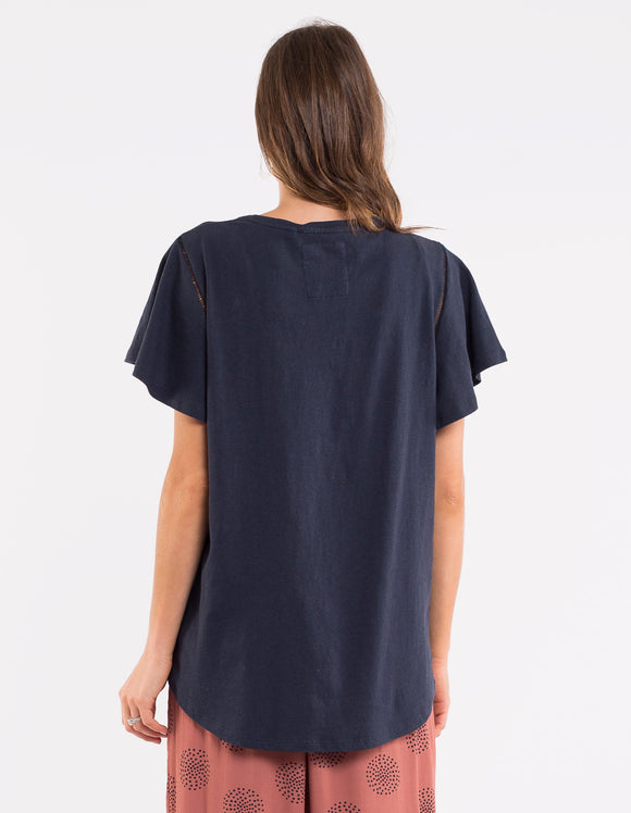 Elm Lucy Flutter Tee - Navy shop online or in store at Wallace & Gibbs