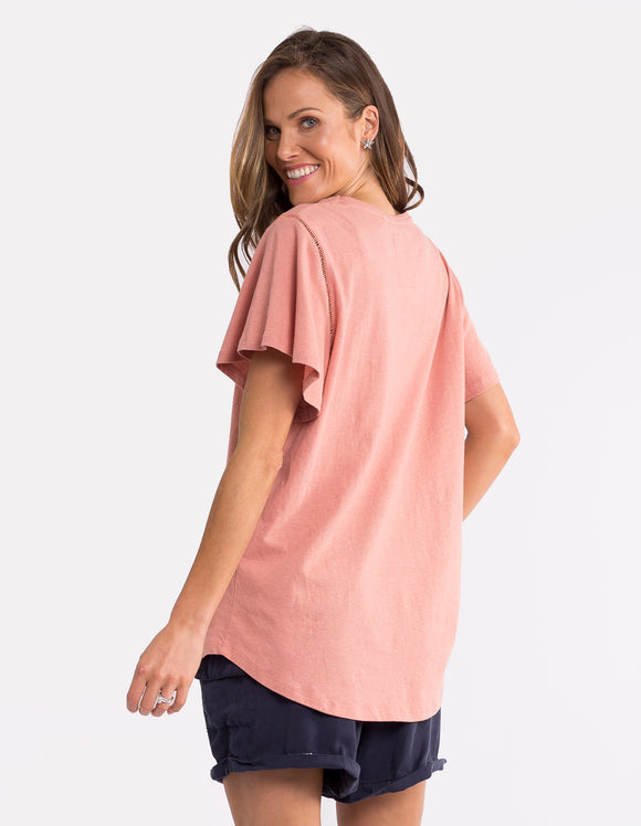 Elm Lucy Flutter Tee - Nude shop online or in store at Wallace&Gibbs