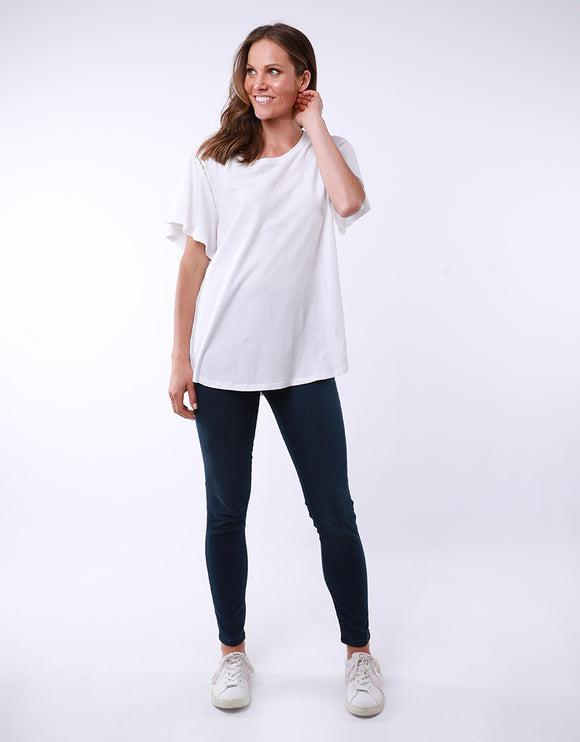 Elm Lucy Flutter Tee - White shop online or in store at Wallace&Gibbs