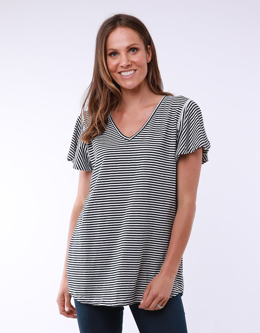 Elm Alice Flutter Sleeve Stripe Tee - Navy shop online or in store at Wallace&Gibbs