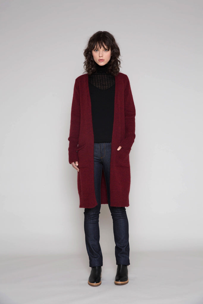 Standard Issue Alpaca Coat with Pockets - Merlot