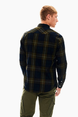 Mens LS Checkered Shirt - Army Green | Shop Garcia at Wallace and Gibbs