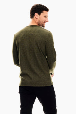Mens LS Top - Army Green | Shop Garcia at Wallace and Gibbs