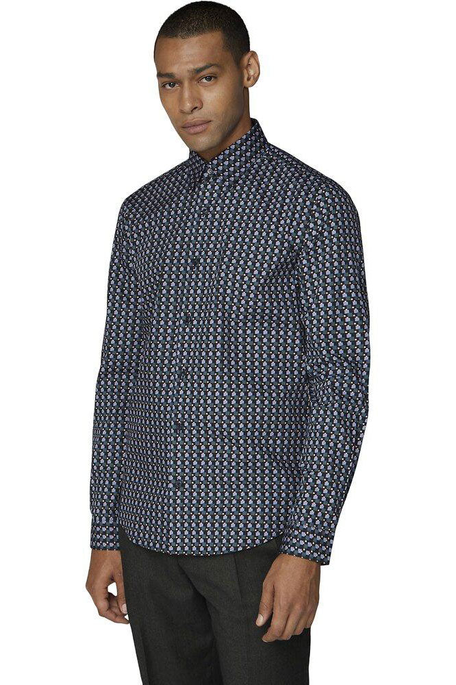 LS Retro Print Shirt Sprout | Shop Ben Sherman at Wallace and Gibbs NZ