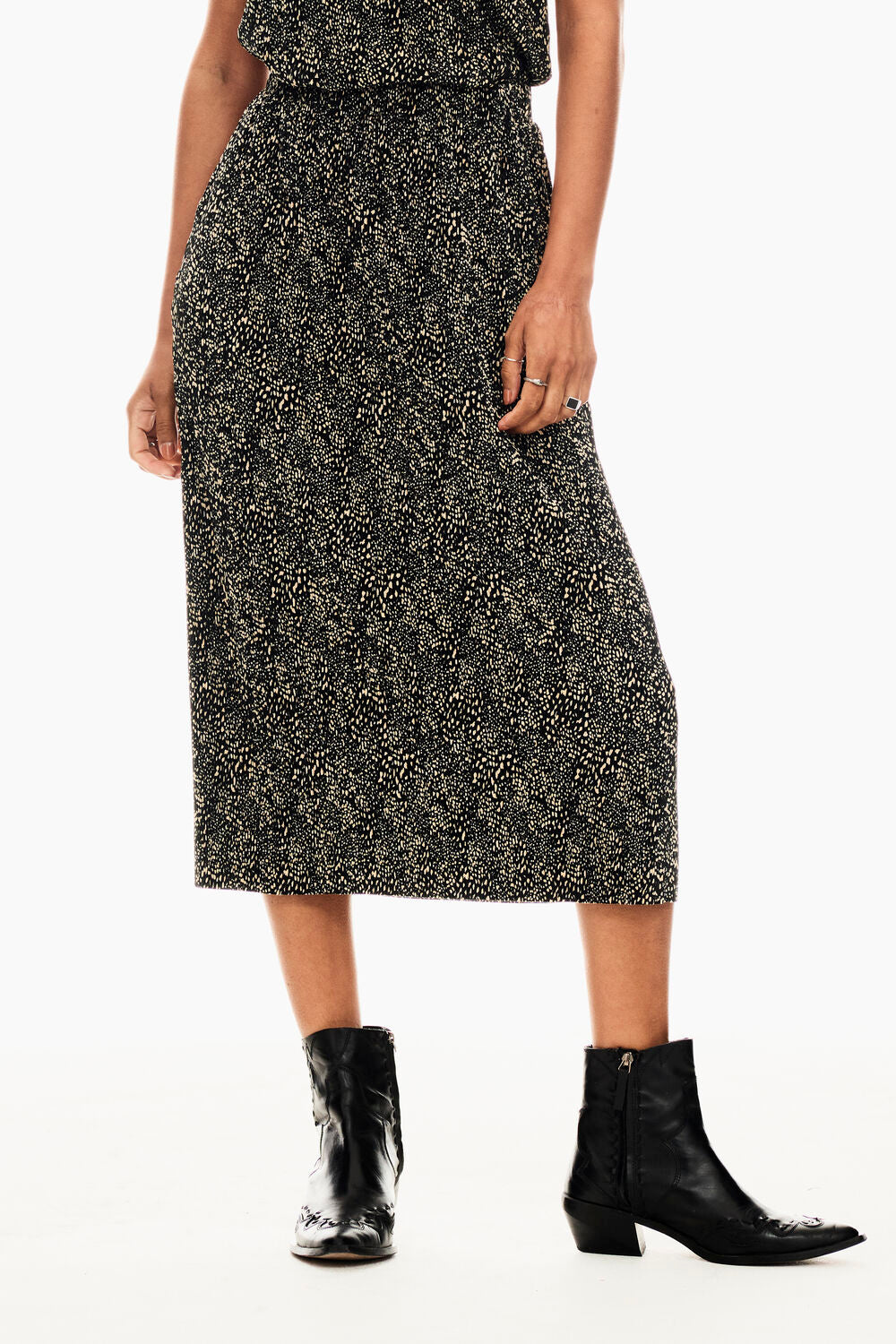 Garcia Midi Skirt - Black Print | Shop Garcia at Wallace and Gibbs