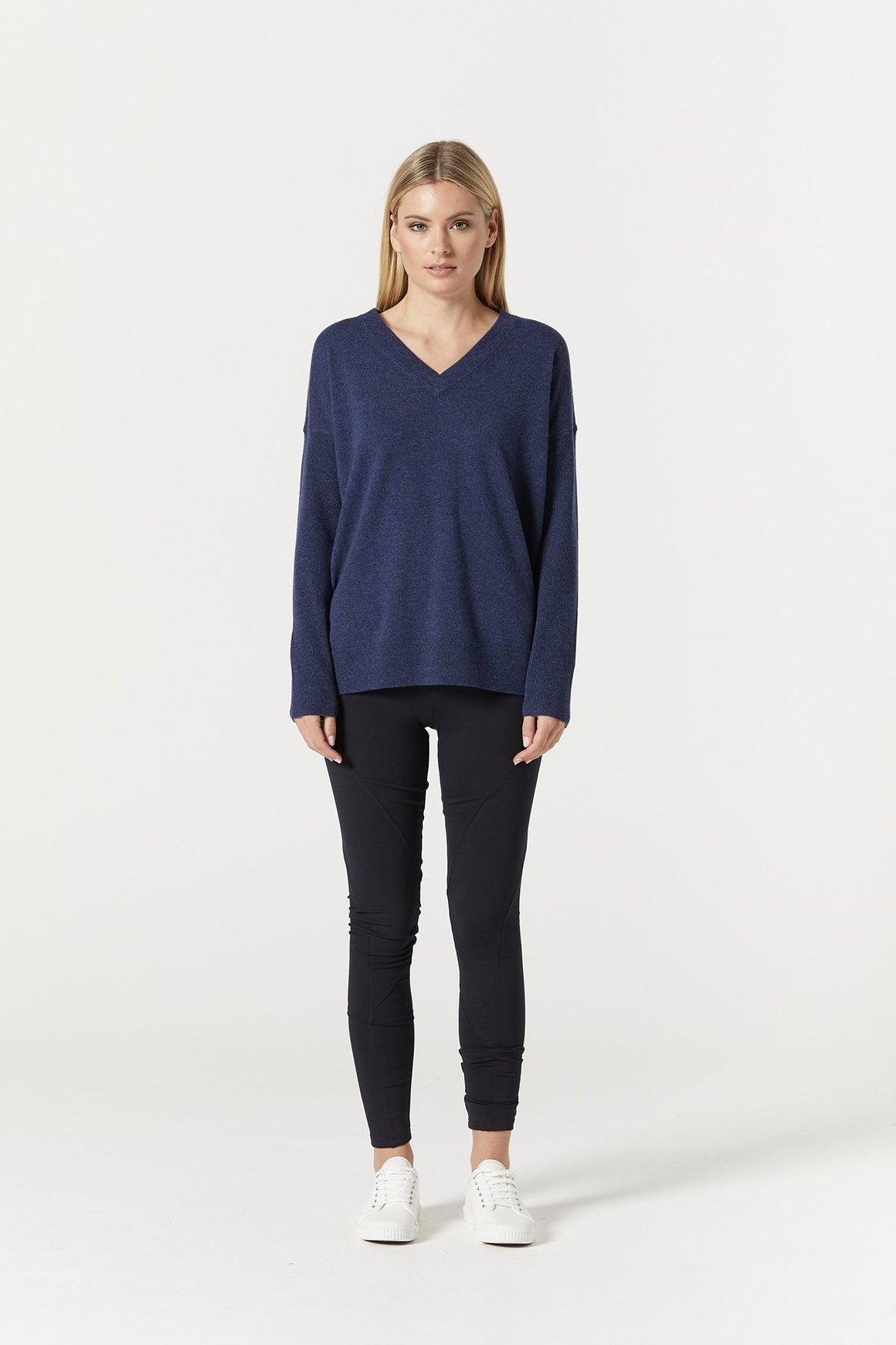 Cashwool V Neck Jumper Denim | Shop Cable at Wallace and Gibbs NZ