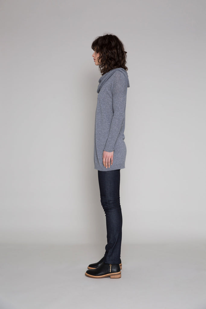 Standard Issue Cashmere Ribbed Sleeve Jumper - Pewter