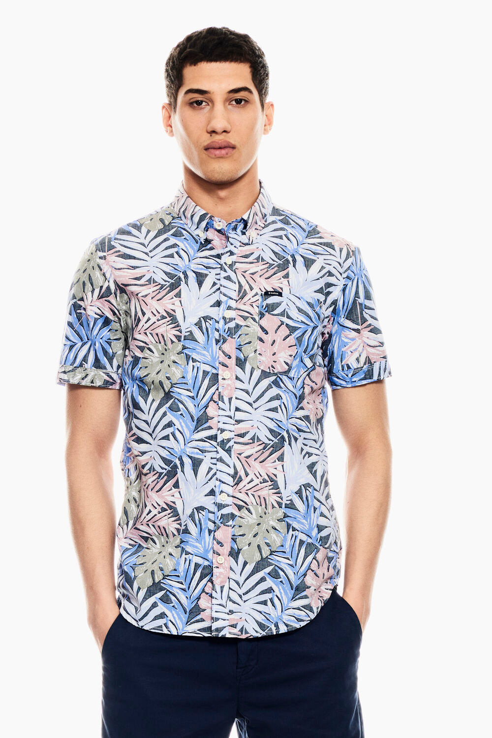 Mens SS Shirt - Blue Print | Shop Garcia at Wallace and Gibbs