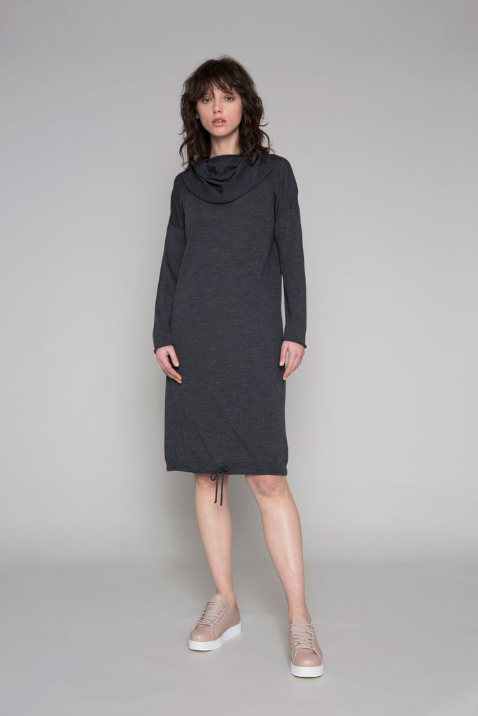 Standard Issue Funnel Neck Dress - Gunmetal