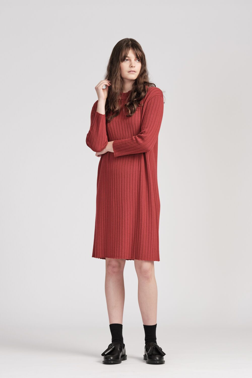 From Bridget Dress Raspberry | Shop FROM online | NZ Made knitwear