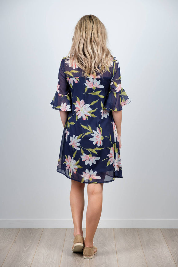 White Chalk Ginny Dress - Large Navy Floral