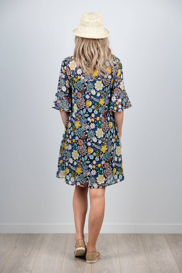 White Chalk Ginny Dress - Navy Mustard Floral