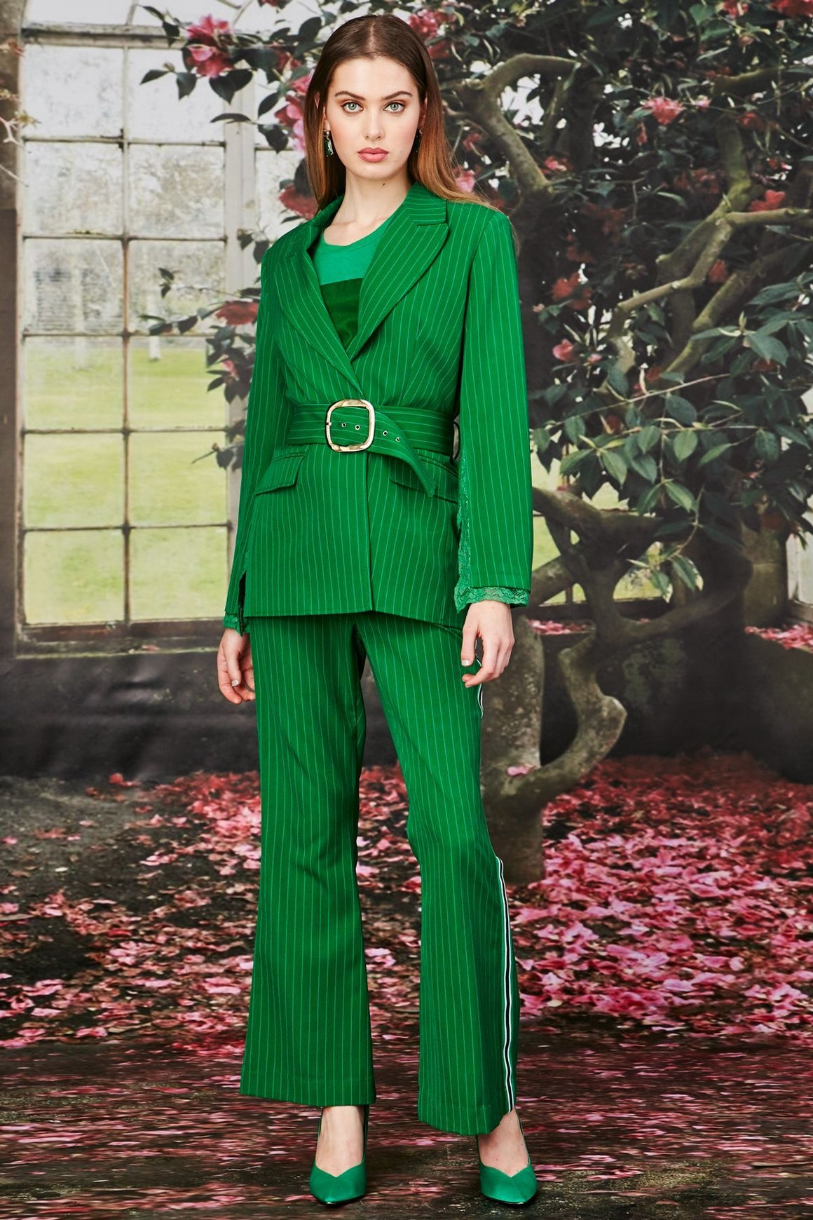 Trelise Cooper Draw Me Close Jacket Green Pinstripe | Shop at Wallace and Gibbs