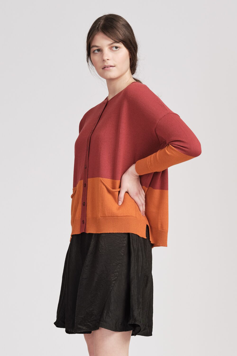 From Meg Cardi Burnt Orange/Raspberry | Shop online | NZ Made knitwear