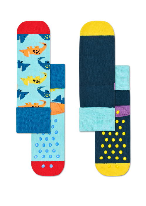 Kids 2-Pack Dinosaur Anti-Slip Socks
