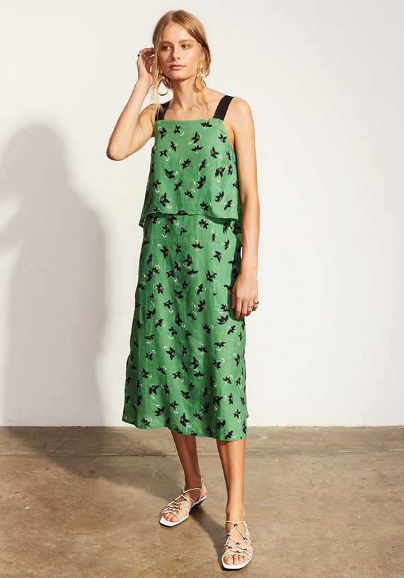 Lido Contrast Strap Dress - Green Floral