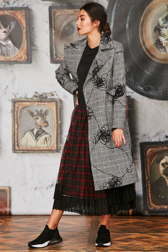 Curate Button Up Coat - Check