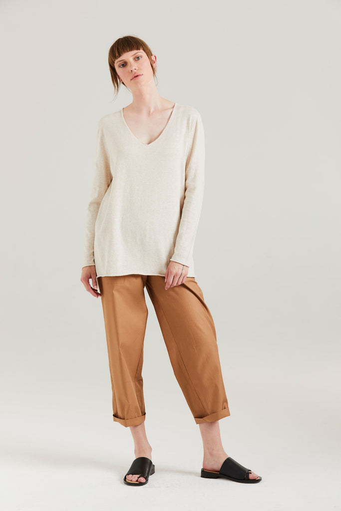 Standard Issue Kiri V Slouchy Sweater Cashew