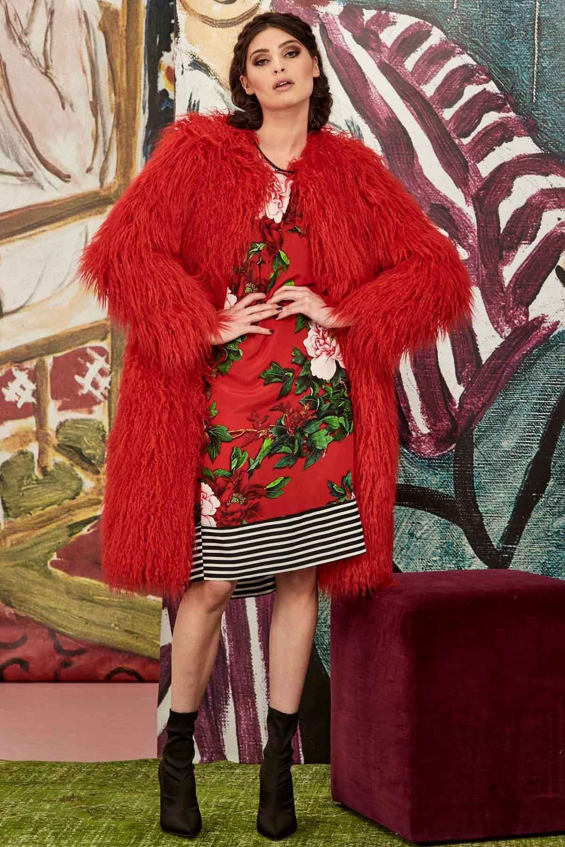 To Fur With Love Coat - Red | Shop Curate online at Wallace & Gibbs