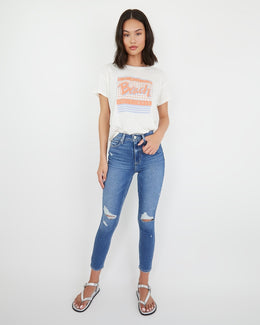 Margot Crop Baazar Destructed | Buy Paige Jeans at Wallace and Gibbs