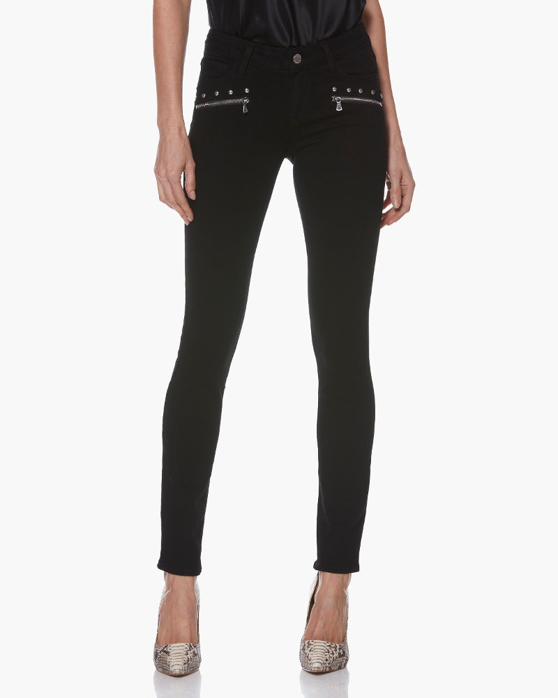Paige Studded Indio Zip Stud Black Shadow