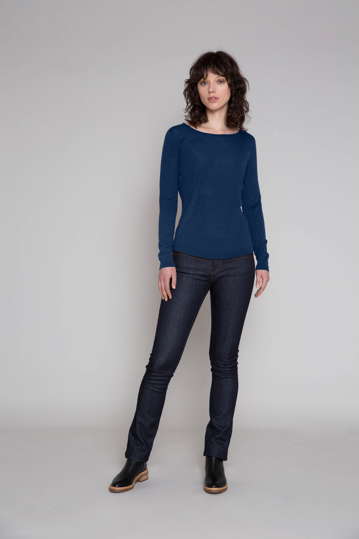Standard Issue Roll Trim Sweater - Sapphire