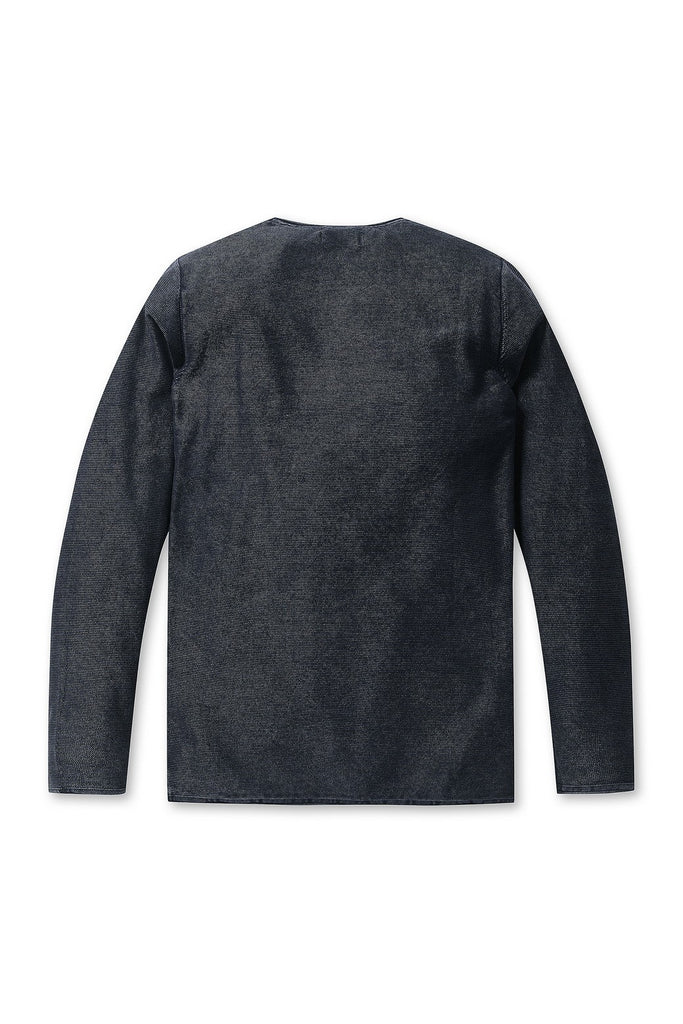 Mens Crew Acid Stripe Long Sleeve - Dark Navy