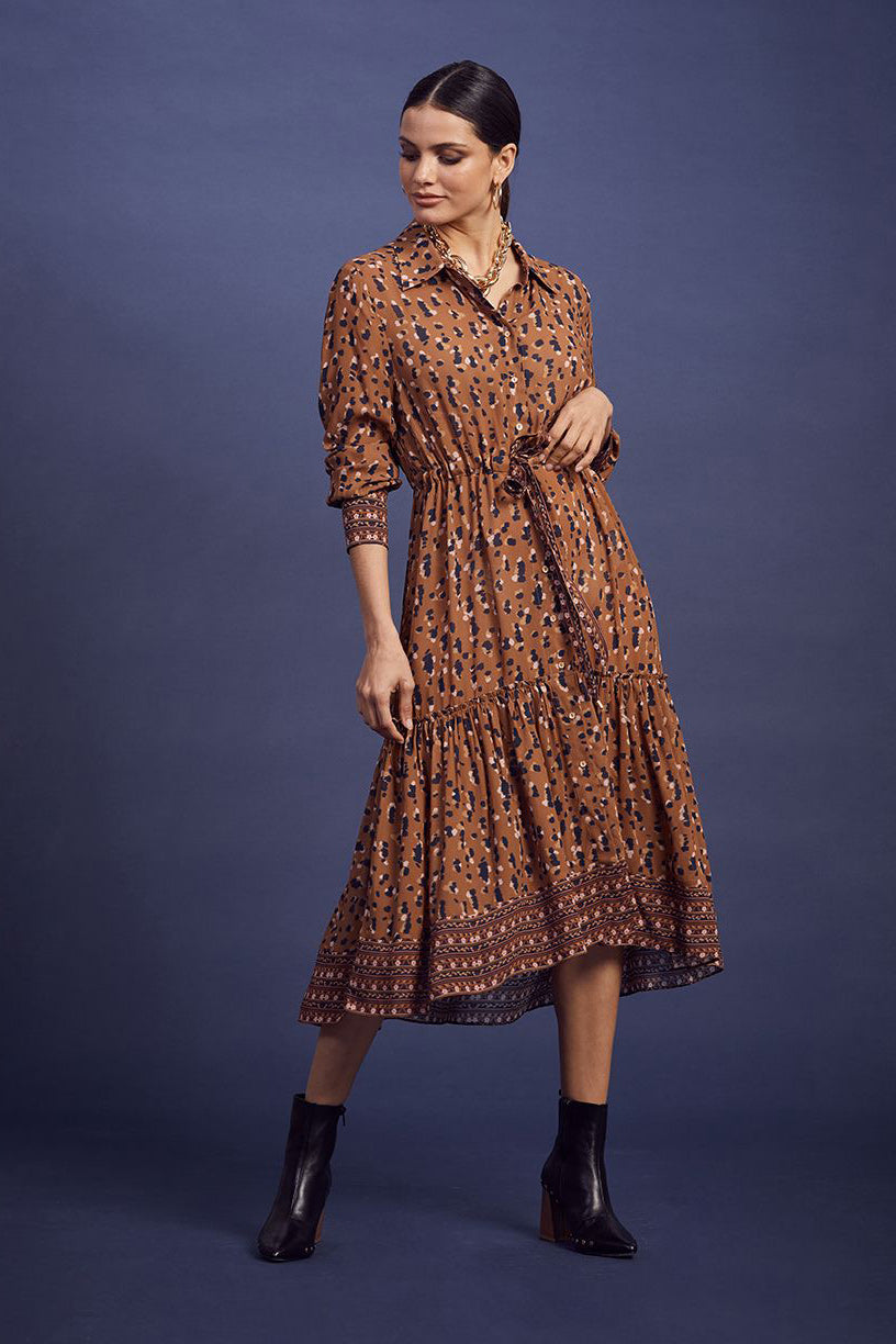 Loobies Story Shanti Dress - Tan Multi | Shop at Wallace and Gibbs NZ
