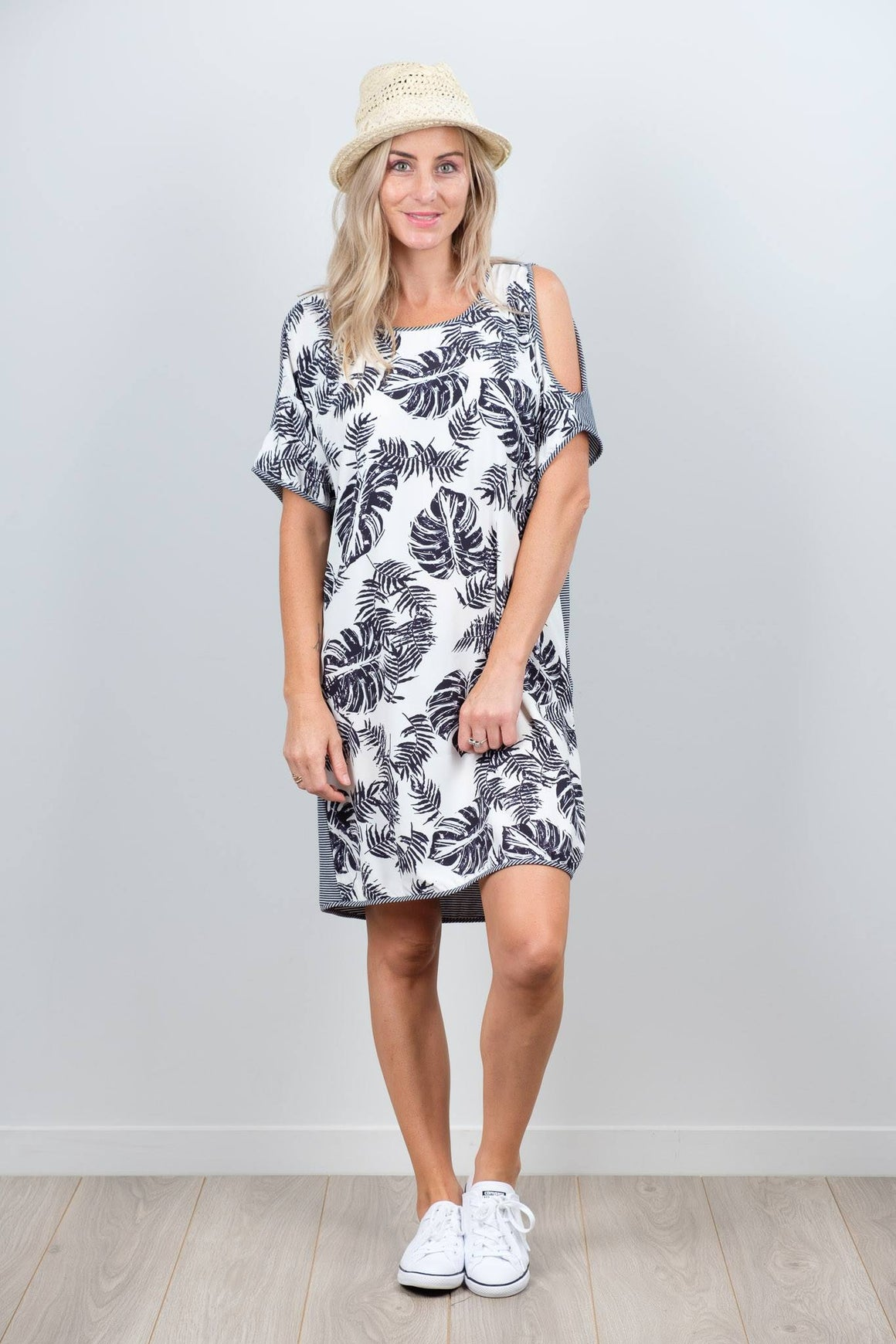 White Chalk Sofia Dress - B&W Leaf Front