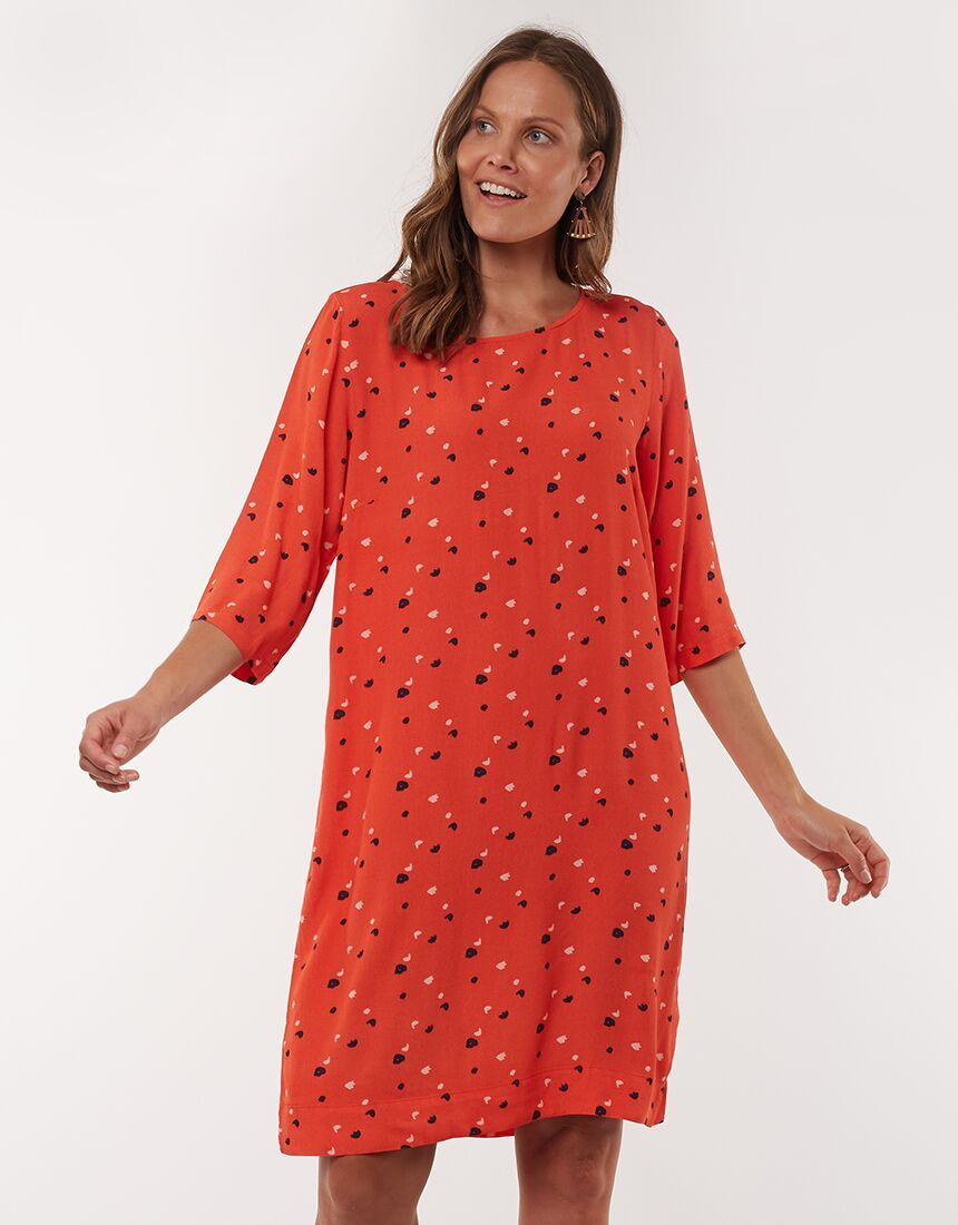 Elm Blossom Shift Dress Orange | Shop Elm at Wallace & Gibbs NZ