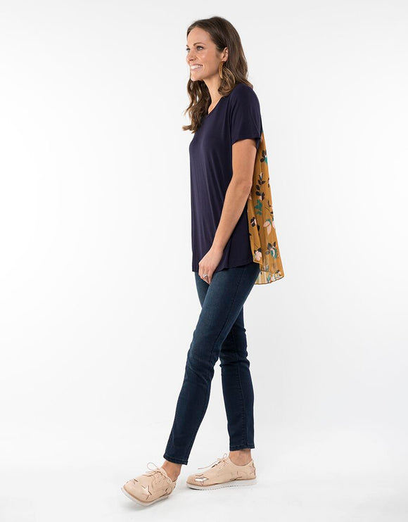 Elm Heidi Pleat Tee Navy | Shop Elm at Wallace & Gibbs NZ