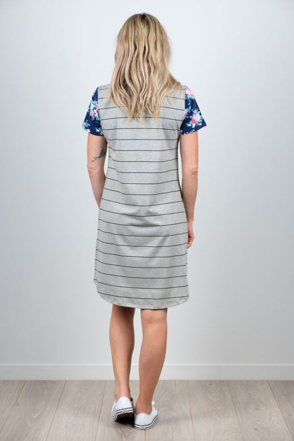 White Chalk Matilda Dress - Stripe & Floral Body