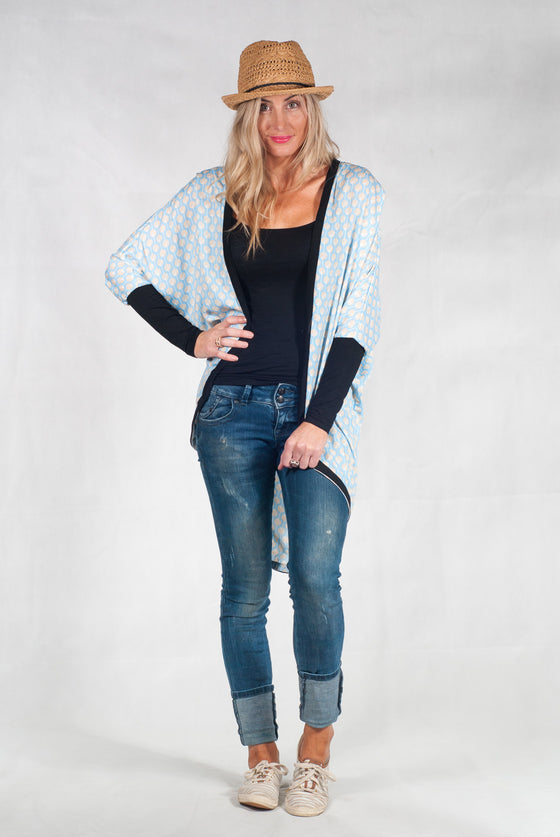 White Chalk Tussock Jumper Cardi - Light Blue