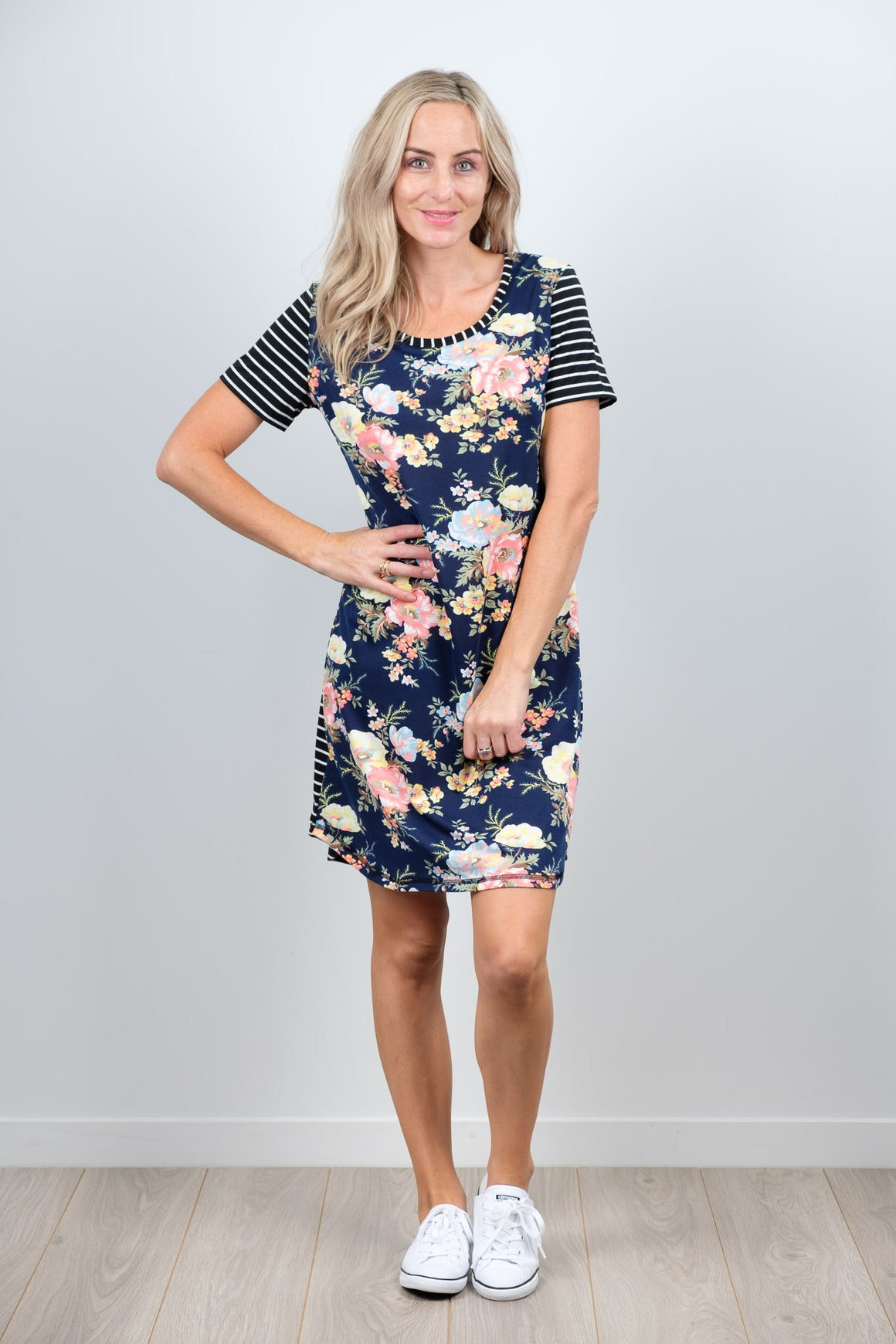 White Chalk Amber Dress - Navy Floral/Stripe Sleeve