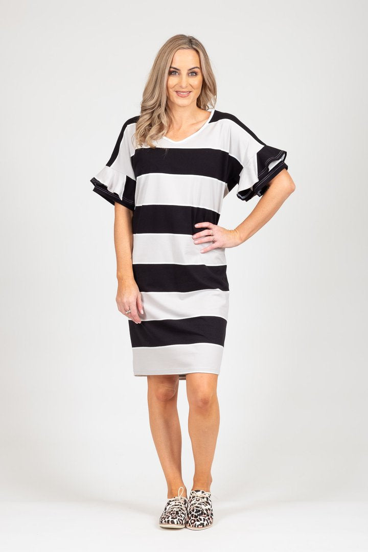 Camellia Dress Black/Grey Stripe | Shop at Wallace and Gibbs NZ