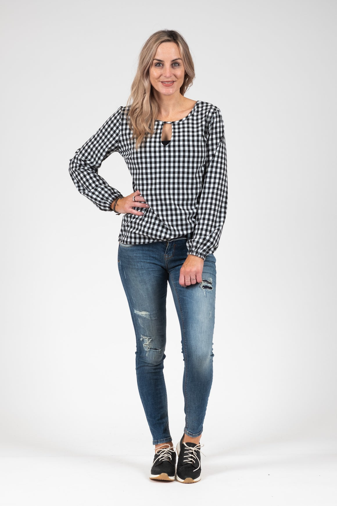 Katya Top B&W Gingham | Shop White Chalk at Wallace and Gibbs