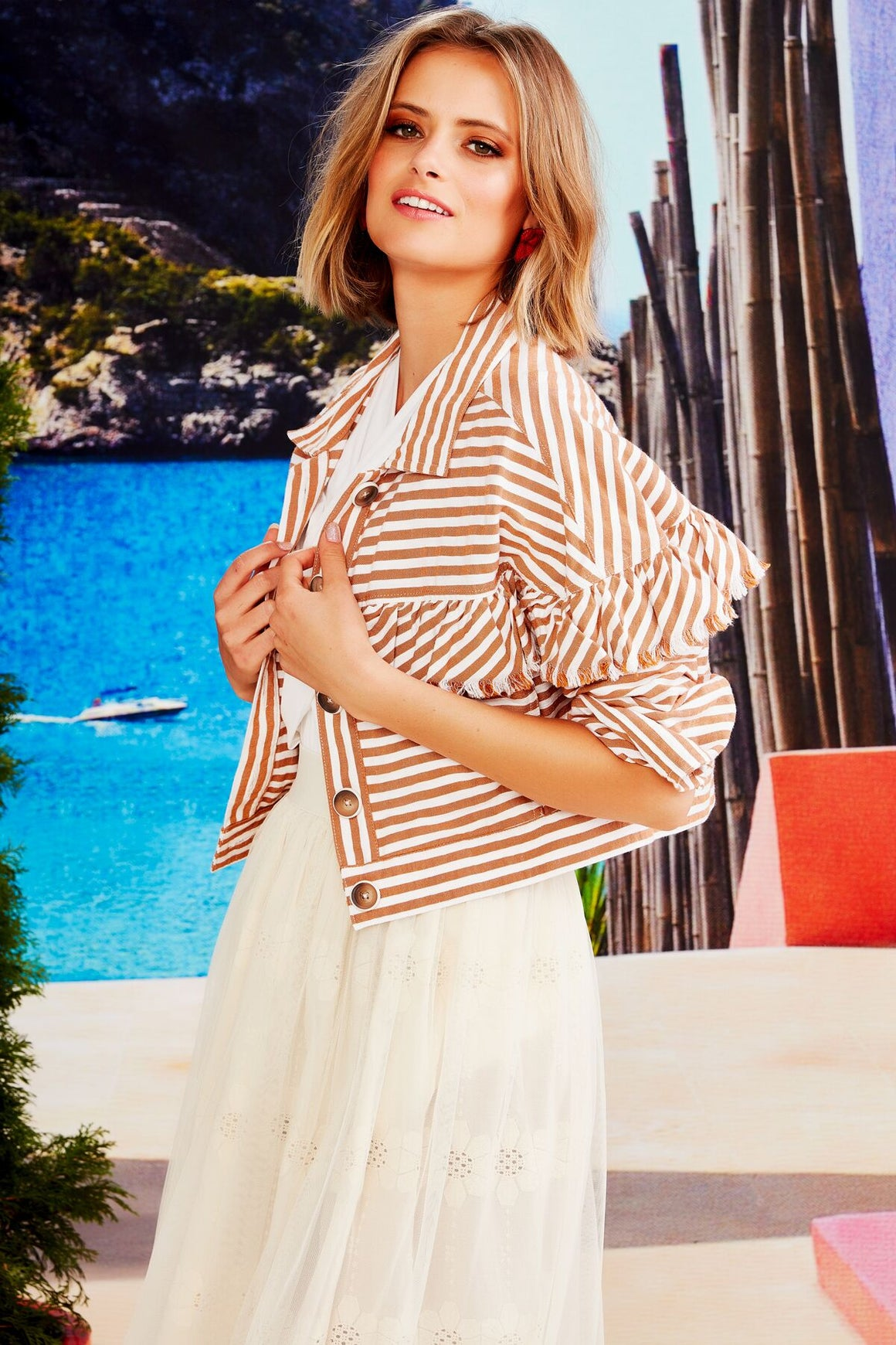 Trelise Cooper You Give Me Frills Jacket - Toffee Stripe