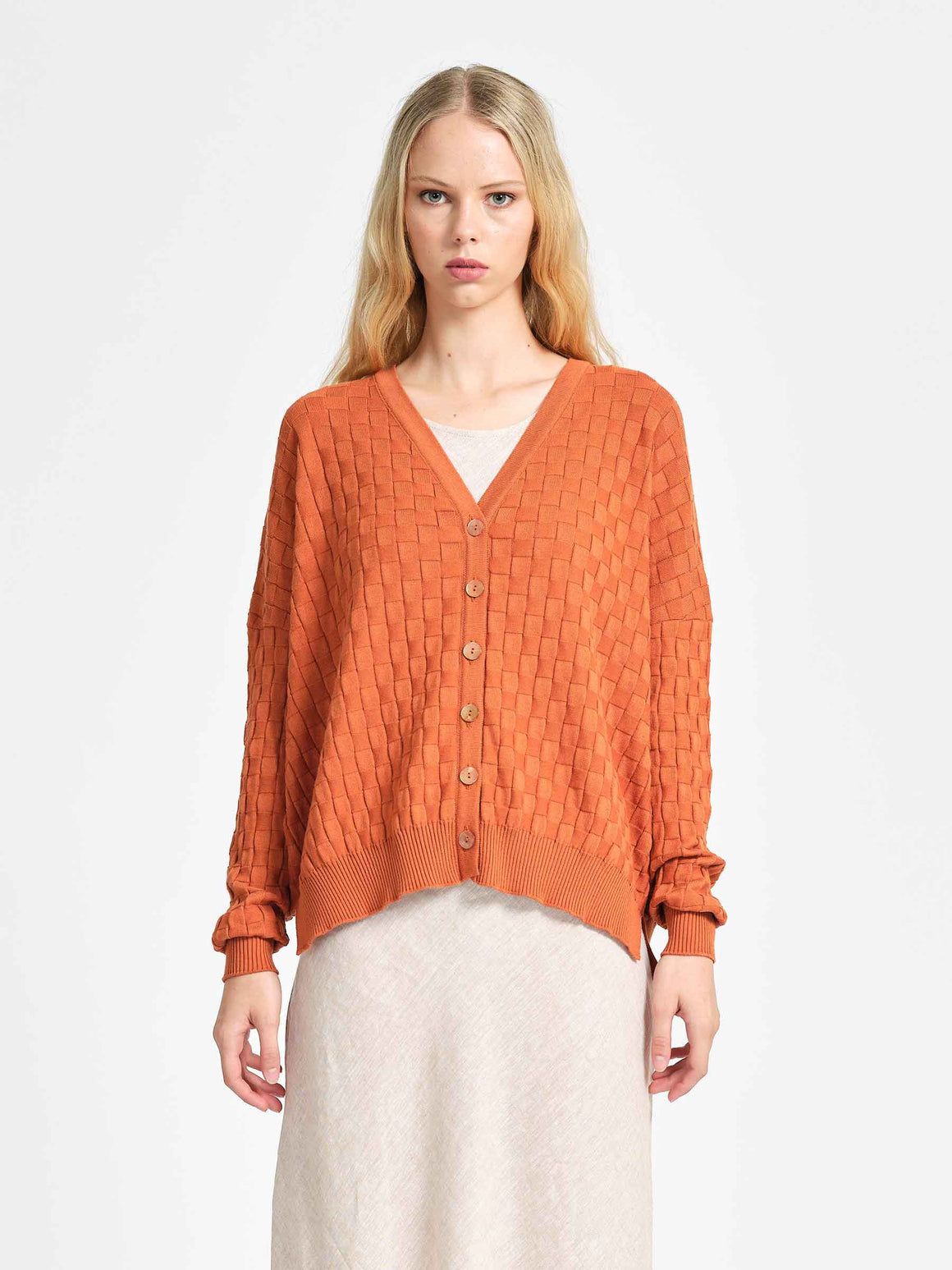 From Boston Cardigan - Persimmon