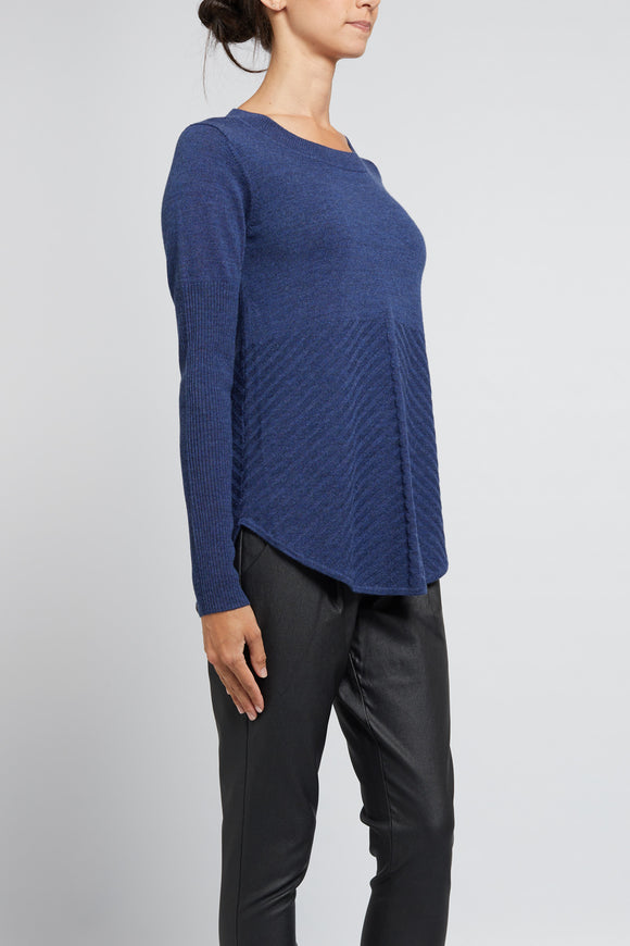 Cable Cara Jumper - Denim | Shop Cable Wallace and Gibbs