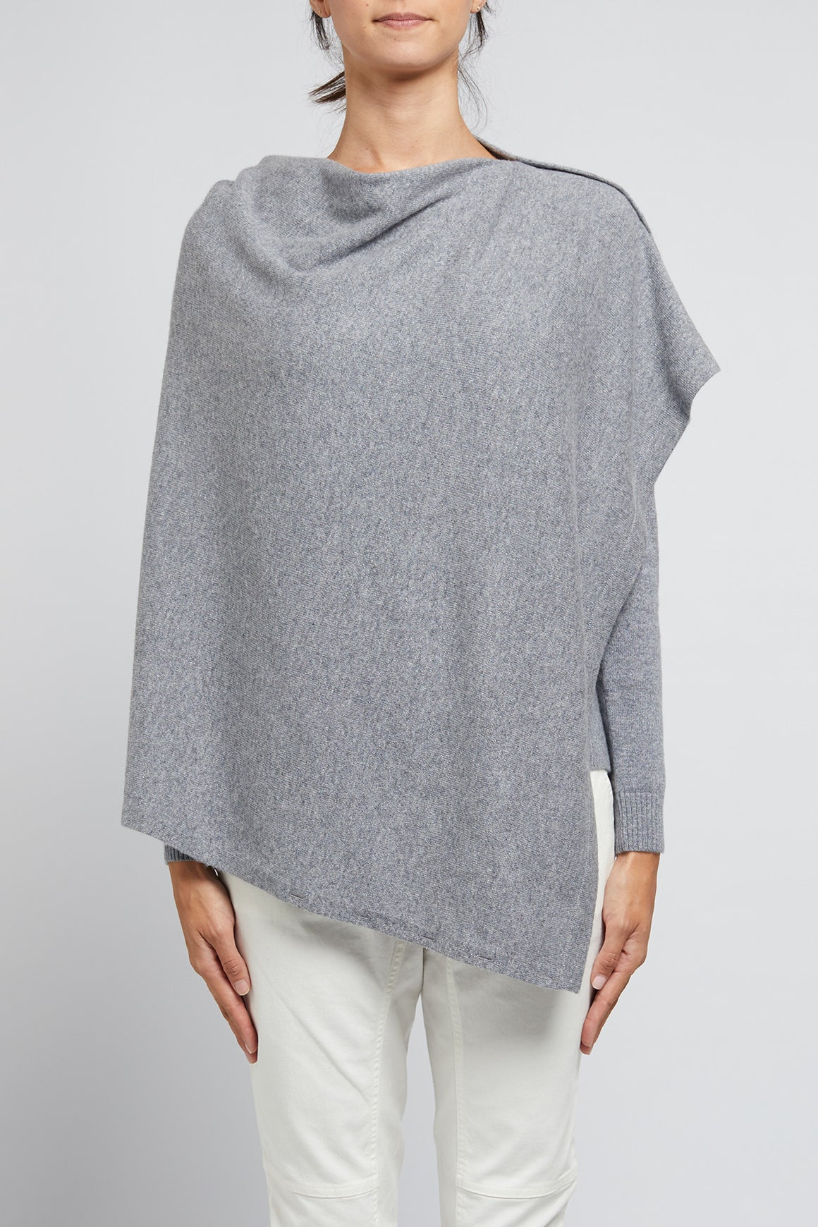 Cable Cashmere Button Poncho -Silver | Shop Cable at Wallace and Gibbs